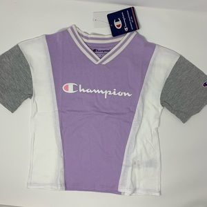 Champion purple large script logo vneck tee 5